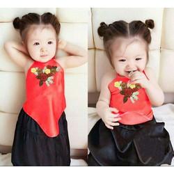 Set Áo Yếm Kèm Váy Xinh Cho Bé Gái