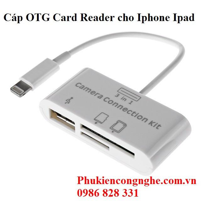Cáp OTG Lightning hỗ trợ đọc thẻ nhớ cho Iphone Ipad 2