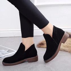 Giày Bốt Da Lộn Đế Vừa Màu Đen GB05
