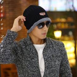 nón len giữ ấm phủ tai thu đông Hàn Quốc mũ len trùm đầu đính tem