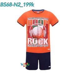 Bộ short áo thun in hình trái bóng cam 25-37kg