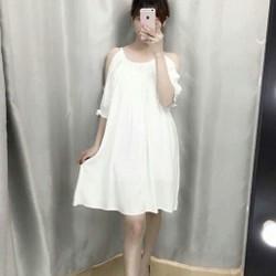 Đầm khoét vai trắng
