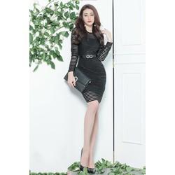 Đầm ren đen ôm bodydài tayđơn giản trẻ trung M31085