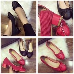 giày búp bê gót vuông thắt nơ