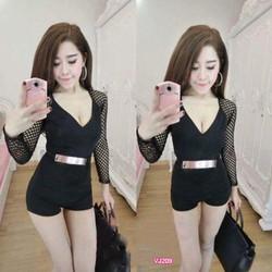 Jum short tay dài phối lưới kèm belt Ngọc Lang Phương