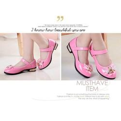 Giày búp bê nơ hồng Hàn Quốc cao gót xinh xắn