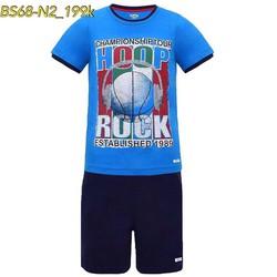 Bộ short áo thun in hình trái bóng xanh