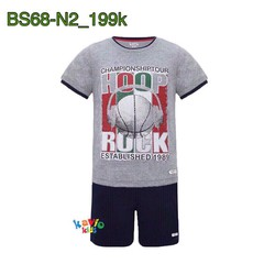 Bộ short áo thun in hình trái bóng xám 25-37kg