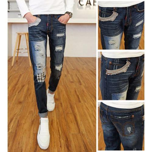 Quần jeans nam rách vá caro Mã: ND0660