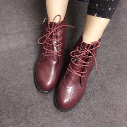 Sale off - Giày boots cột dây màu đỏ BCD07