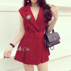 set áo vest from dài + quần short