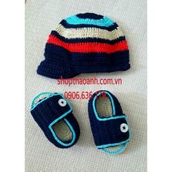 Set nón giày len Handmade size 2 tháng - 5 tháng