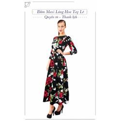 Ms672 Đầm Maxi Đen Lửng Hoa Tay Lỡ