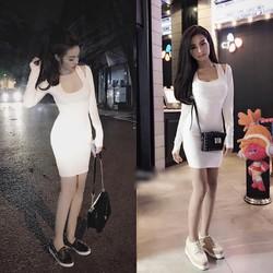 Đầm body khoét vai tay dài _MỎ CHU SHOP