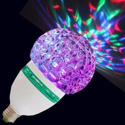 đèn led xoay 7 màu pha lê chui E27