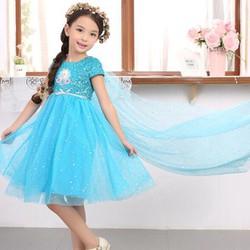 Đầm công chúa Elsa kim sa tà dài
