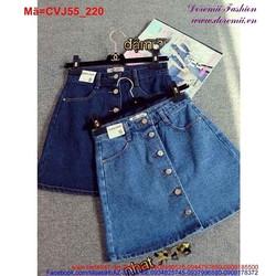 Chân váy chữ A Jean phối 6 nút trẻ trung CVJ55