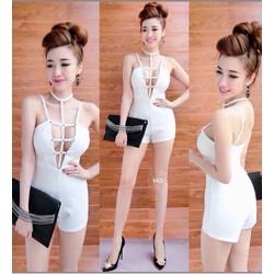Jumpsuit short yếm đan dây _MỎ CHU SHOP