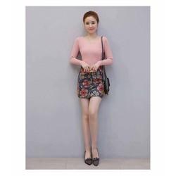 Sét áo thun tay dài + chân váy in hoa 3D xinh iu