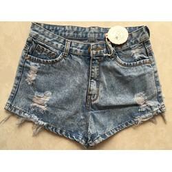 Quần short jean nữ cạp cao rách