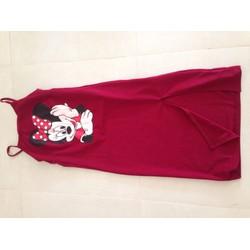 Đầm suông hai dây mickey vải thun dày dặn