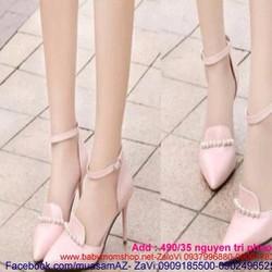 Giày cao gót mũi nhọn đính ngọc trai sang trọng dễ thương GCN210