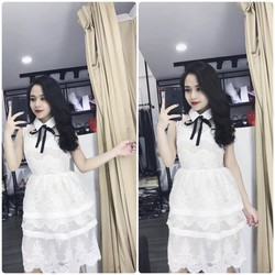 Đầm ren trắng tiểu thư