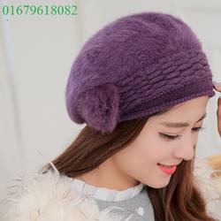 nón mũ len lông   thỏ Người tình mùa đông thời trang  Hàn Quốc