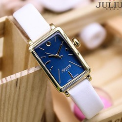 Đồng hồ nữ dây da Hàn Quốc JU1151 Trắng viền vàng - Thương Hiệu