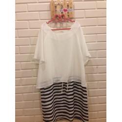 Đầm Hàn Quốc suông kết hợp với áo voan trắng - ĐB020