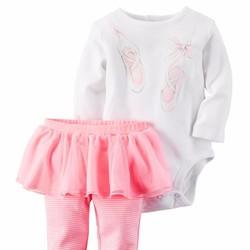 Set 2 bodysuit tay dài và quần váy Carter cho bé gái sơ sinh