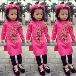 Áo dài cách tân thuê hoa màu hồng đậm