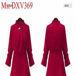 Đầm xòe dự tiệc màu đỏ thiết kế sang trọng và thời trang DXV369