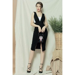 Đầm đen phối trắng D781