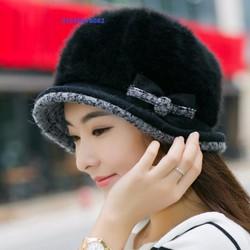 nón mũ nữ len lông  Rabbit  mùa  đông Hàn quốc hoa Casual mới nhất
