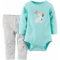 Set 2 bodysuit tay dài và quần legging cho bé gái sơ sinh