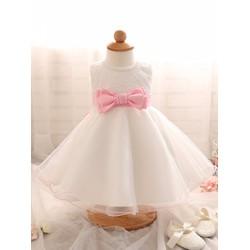 Đầm công chúa D023 - ren nơ thắt eo cho bé