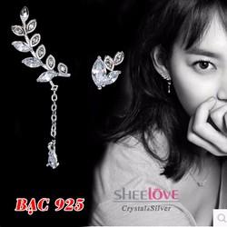 Bông tai bạc 925 cành cây thời trang cá tính sang trọng HKE-EW001