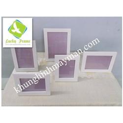 5 khung ảnh gỗ trắng để bàn