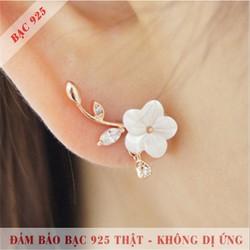 Bông tai nữ S925 cành mai bac đá Zircon lấp lánh HKE-1604063