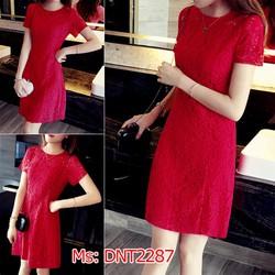 Đầm đỏ ren suông tay ngắn xinh xắn