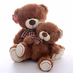 Thú bông gấu tim valentine sọc caro 50cm