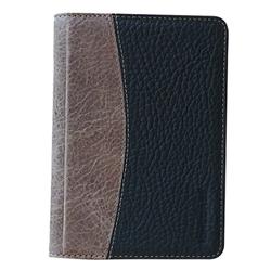 Ví Đưng Passport Stylish Xám Đen Da Bò Thật