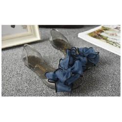 Giày búp bê nữ đính nơ vải xinh xắn