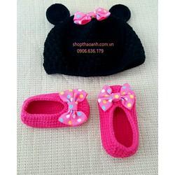 Set nón giày chuột Minnie móc tay Handmade size 2 tháng - 5 tháng