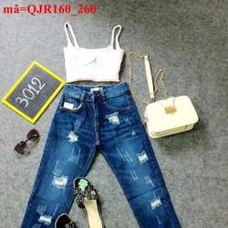 Quần jean nữ rách xước nhẹ phong cách cá tính QJR160