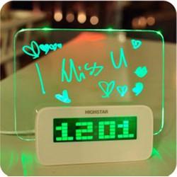 Đồng hồ báo thức bảng LED phát sáng kiêm cổng chia USB hub