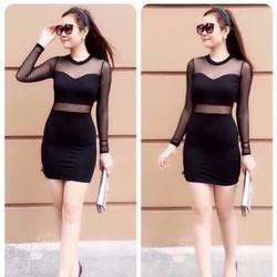 Đầm đen ôm body tay dài phối lưới