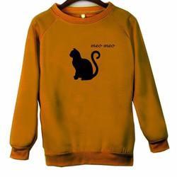 Áo Thun Vây Cá Tay Dài Họa Tiết Con Mèo