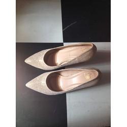 Giày cao gót sang trọng ánh kim.